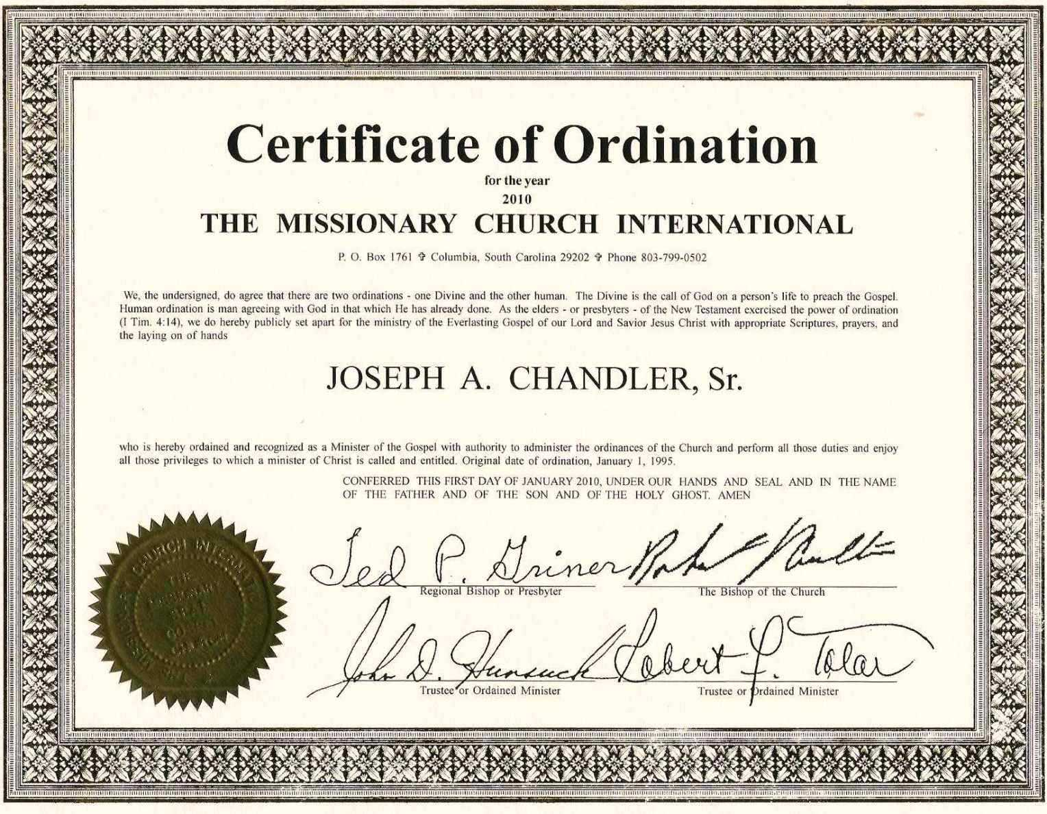 Exceptional Printable Ordination Certificate | Dan's Blog Within Free Ordination Certificate Template