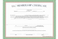 Llc Membership Certificate - Free Template intended for New Member Certificate Template