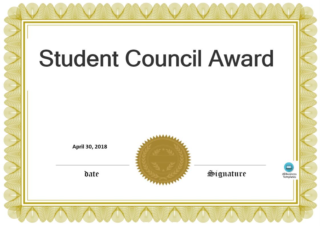 Student Council Award | Templates At Allbusinesstemplates With Free Student Certificate Templates